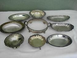 Lot 9 Antique Silverplate Bowls Serving Trays Candy Dish Sheridan Wm Rogers