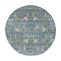 8and039x8and039 Willow And Cypress Tree Design Natural Wool Round Hand Knotted Rug R55089