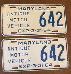 Maryland 1964 Antique Motor Vehicle License Plate Pair 642