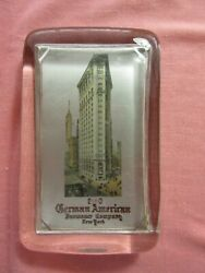 German American Insurance New York Flatiron Building Pre 1918 Glass Paperweight