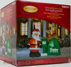 Holiday Living Santa And Elf On Reindeer Rider Airblown Inflatable 5 Ft X 6 Ft Nib