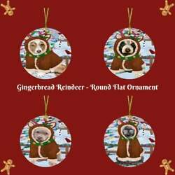 Gingerbread Reindeer Dog Cat Round Flat Christmas Tree Ornament Gift Decor