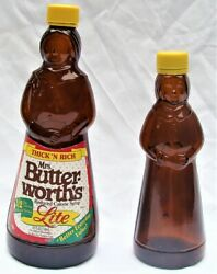 2 Vtg Mrs Butterworth's Amber Brown Glass Syrup Bottles 12 And 24 Oz And Tops