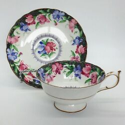 Paragon By Appointment Bone China England Sweet Pea Cup And Saucer Set