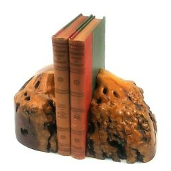 Book Ends Matched Burl Wood Mid Century Modern Polished Mcm Decor