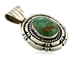 Navajo Pendant .925 Silver Bisbee Turquoise Signed Artist Jt C.80and039s