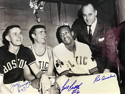 Bill Russell Red Auerbach And Frank Ramsey Autographed 16x20 Basketball Photo