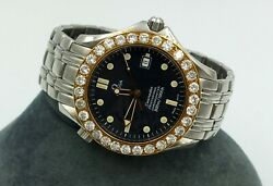 Omega Seamaster Watch Professional Chrono 5-Ctw Diamond 14k Gold Bezel Swiss