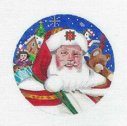Santa With Toys On The Roof Top Hp Needlepoint Ornament By Liz From S. Roberts