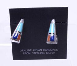 Navajo Inlaid Post Earrings Turquoise, Coral, Jet And Lapis. Angular Hoop Style