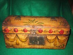 Antique Americana Decorated Dome Lid Box Pennsylvania Gesso Painted