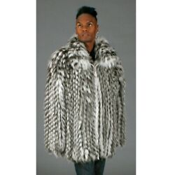 Clearance Fox Feathered Fur Zip Jacket- Size 46