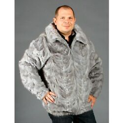 Sale Gray Mink Fur Sections Jacket With Zip Off Hood- Size 48