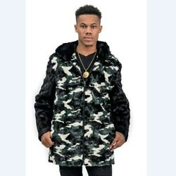 Sale Camouflage Mink Fur Sections Zip Hooded Jacket- Size 42