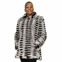 Clearance Snow Top Chinchilla Rex Fur Jacket- Size 8-10