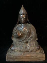 15and039and039 Old Bronze Copper Carved Tibetan Buddhism Tsongkhapa Buddha Statue