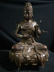 19and039and039 Old Collection Bronze Red Copper Buddhism Avalokitesvara Guanyin Kwan-yin