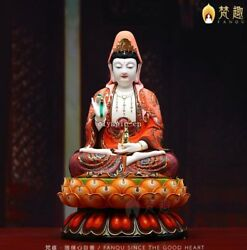 18and039and039 Collection Art White Porcelain Painting Folk Home Fengshui Lotus Kwan-yin