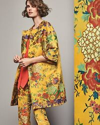 💛 New Etro Marigold Yellow Chinoiserie Floral Jacquard Birds Topper Jacket 42 8