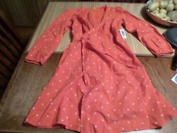 Old Navy NWT Adorably CUTE Deep CoralFloral Print KL Wrap Dress M 34 Sleeve $3.99