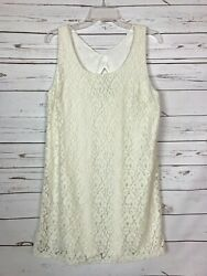 Everly Boutique Women's L Large Ivory Cream Lace Floral Cute Sleeveless Dress $18.00