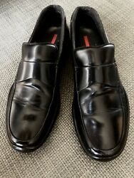 Authentic PRADA men#x27;s black leather loafers shoes Size 9 $100.00