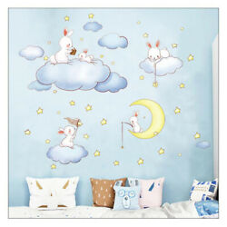 Cartoon Clouds Rabbit Wall Stickers For Kids Rooms Baby Bedroom Home Decor