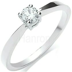 Certificated Diamond Solitaire Ring 18 Carat White Gold 0.25ctw Large Sizes R-z