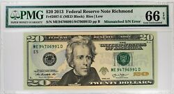 2013 20 Federal Reserve Note Richmond Mismatched Serial Number Error Pmg 66 Epq