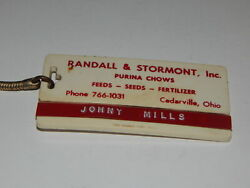 Vintage Advertising Keychain Randall And Stormont Purina Chows Cedarville Ohio