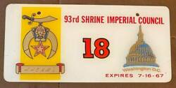 1967 Washington Dc 93rd Shrine Imperial Council Booster License Plate 18