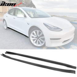 Fits 17-21 Tesla Model 3 Ikon Style Pp Matte Black Side Skirts In Pair