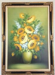 """Sunflower - 1960's Original Oil Painting by R. Cox. 30"""" x 41 12"""" With Frame."""