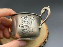 Vintage Mexico Donald Duck Gideon And Figaro Sterling Silver Cup
