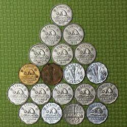 1937 1938 1939 1940 1941 1942 1943 1944 1945 1946 1947 1948-1952 Canada 5 Cents