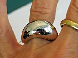 Fred Paris 18k White Gold 12 Mm Wide Wave Ring Sz 7 3/4 Signed And Numbered