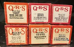 Vintage Lot Of 6 Q.r.s. Player Piano Rolls Word Roll Great Condition