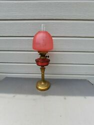 Oil Lamp Vintage Cranberry Cut Glass Font Swirl Bee Hive Shade 25.5 Tall  Ol15