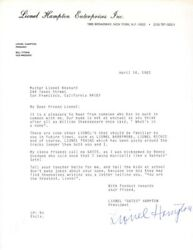 Lionel Hampton - Typed Letter Signed 04/14/1983