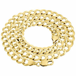 Mens Solid 10k Yellow Gold Cuban Curb Link Chain Necklace 9.5mm 20-30 Inches