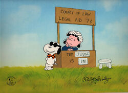 Peanuts Legal Beagle vs. Judge Lucy Limited Edition Cel Set Signed by Melendez