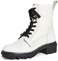Rag And Bone Women Combat Boots White Leather Fashion Lace Up Military Shoes Size