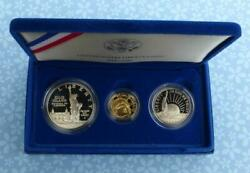 Proof Liberty 3-coin Set, 1986 W 5 .24 Oz Gold, Silver Dollar And 50c, Box And Coa