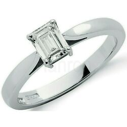 Certificated Emerald Cut Diamond Solitaire Ring 18k White Gold Large Sizes R-z