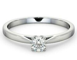 Certificated Diamond Solitaire Engagement Ring 18k White Gold 0.35ct Size R - Z