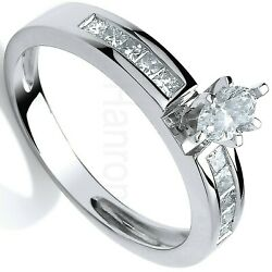 Certificated Marquise Diamond Solitaire Ring White Gold British Made Size J - Q