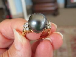 Vintage 14k Yellow Gold .32 Ct Si1 G Diamond And 12 Mm South Sea Black Pearl Ring