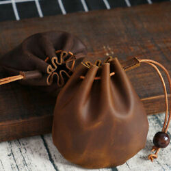 Genuine Leather Wallet Coin Pouch Case Drawstring Bag Small Purse $15.99
