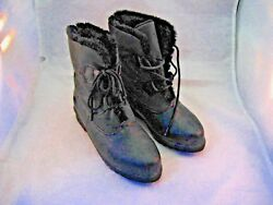 WOMAN#x27;S WINTER BOOTS BY TOTES SIZE 7M BLACK W FAUX FUR TRIM amp; LINING $16.00