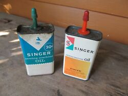 Vintage Singer Sewing Machine Tin Oil Oiling Cans Oilers Pair